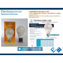 LAMPARA LED Bulbo Vector 7w Equiv 40w Tonalidad CALIDO