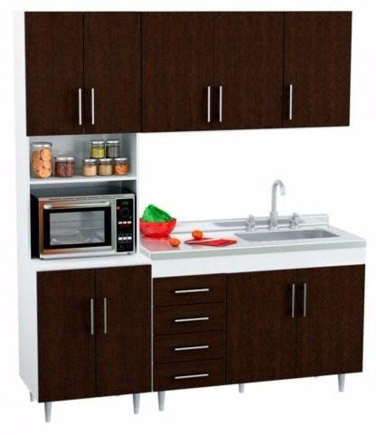 Combo Muebles Cocina Completa Modernos 120 140 Blanco Wengue